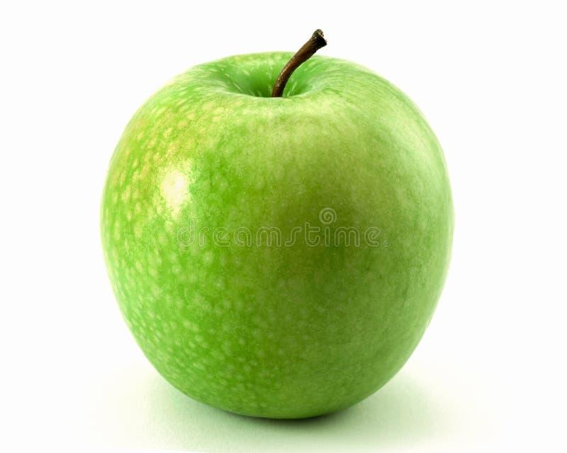 Jeden duży zielony jabłko odizolowywający na białym tle fotografia royalty free