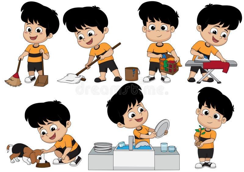 Jeden dzień pomaga rodziców robić wiele rzeczom tak jak zamiatać dzieciak, m ilustracja wektor