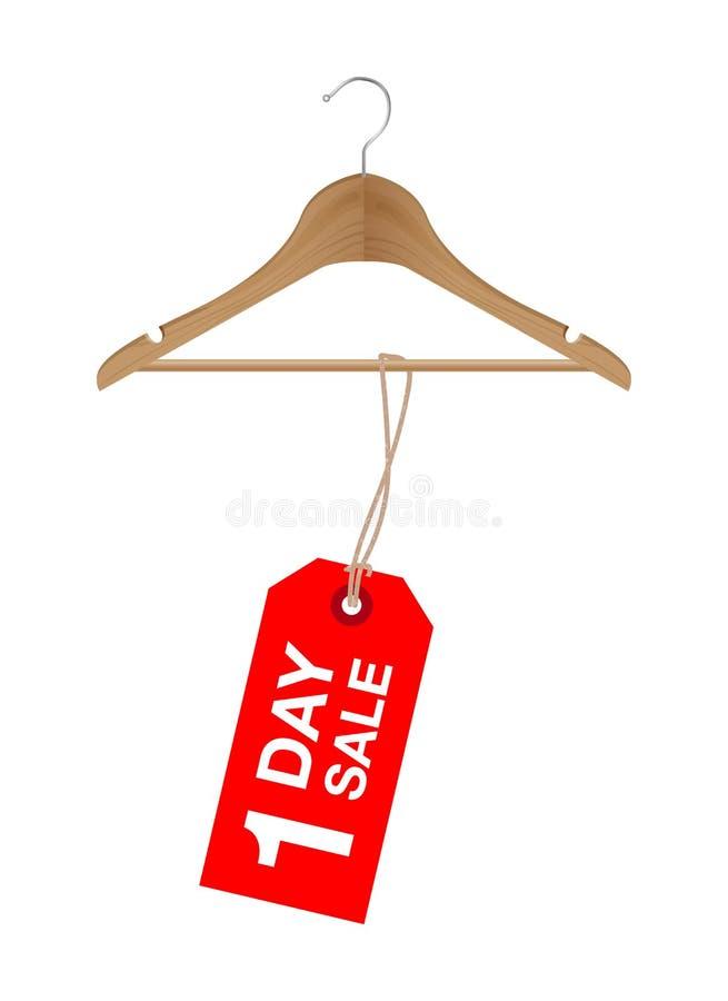 Jeden dzień sprzedaży znak na drewnianym wieszaku ilustracja wektor