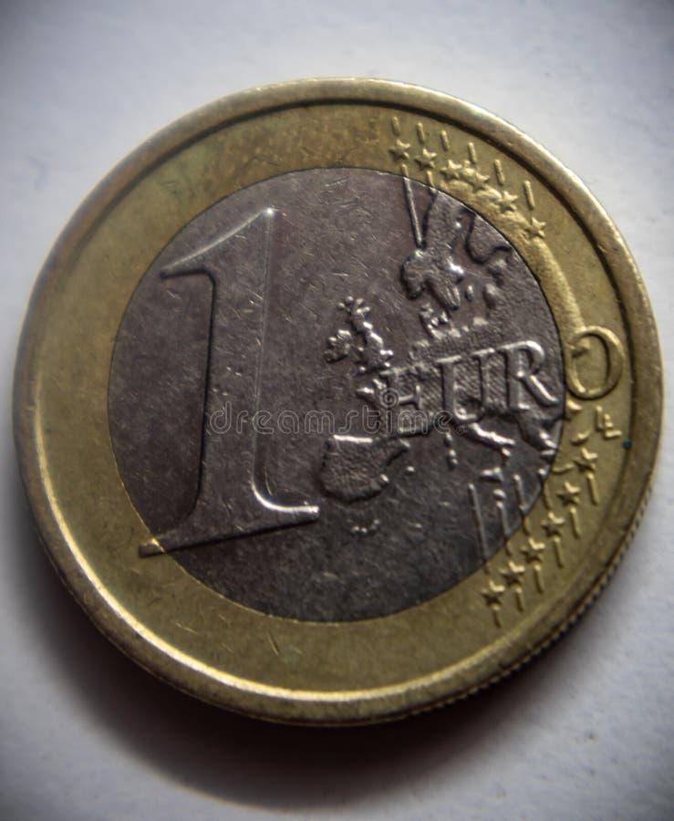 Jeden euro curency moneta zdjęcie royalty free
