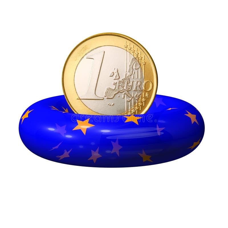 Jeden euro moneta na lifebuoy Europejskim zjednoczeniu royalty ilustracja