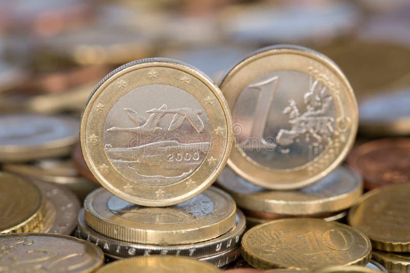 Jeden euro moneta od Finlandia zdjęcia stock