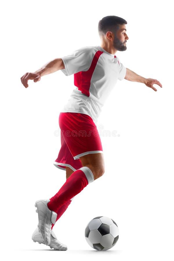 Jeden fachowy statyczny gracz piłki nożnej z piłką w jego ręki Widok od przodu tła futbolu odosobniony biel zdjęcie royalty free