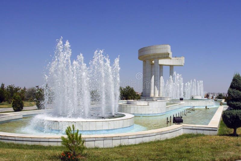 Jeden fontanny w parku zdjęcie stock