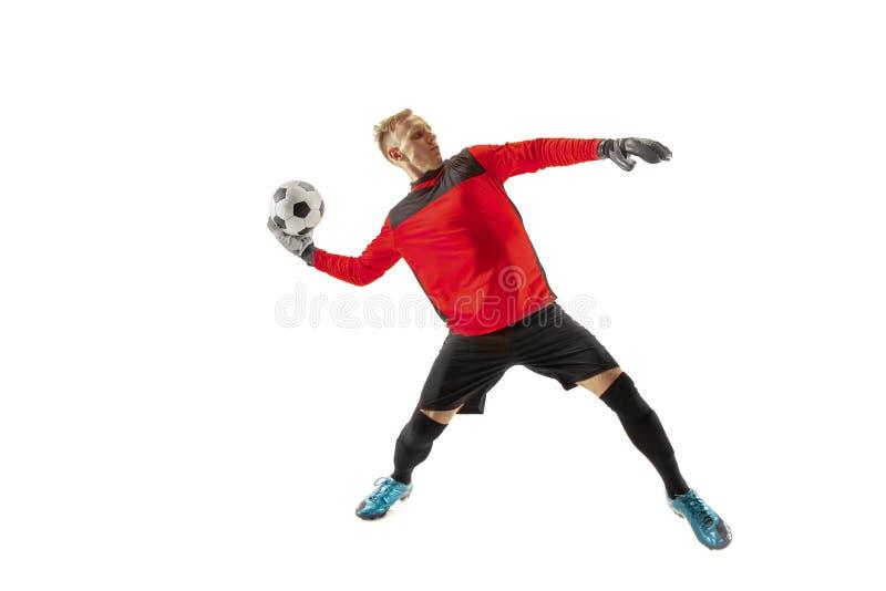 Jeden gracz piłki nożnej bramkarza mężczyzny miotania piłka zdjęcie stock