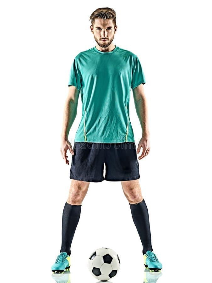 Jeden gracza piłki nożnej mężczyzna pozyci odosobniony biały tło fotografia stock