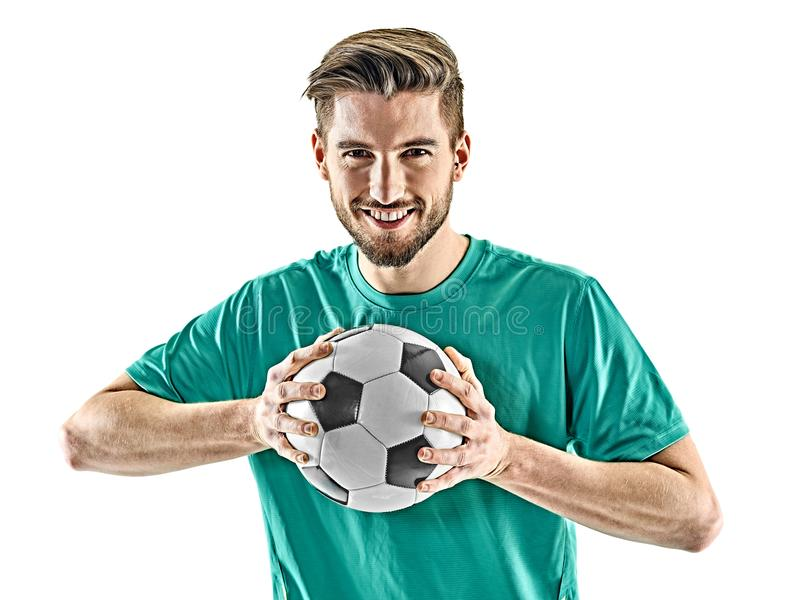 Jeden gracza piłki nożnej mężczyzna pozyci odosobniony biały tło zdjęcie stock