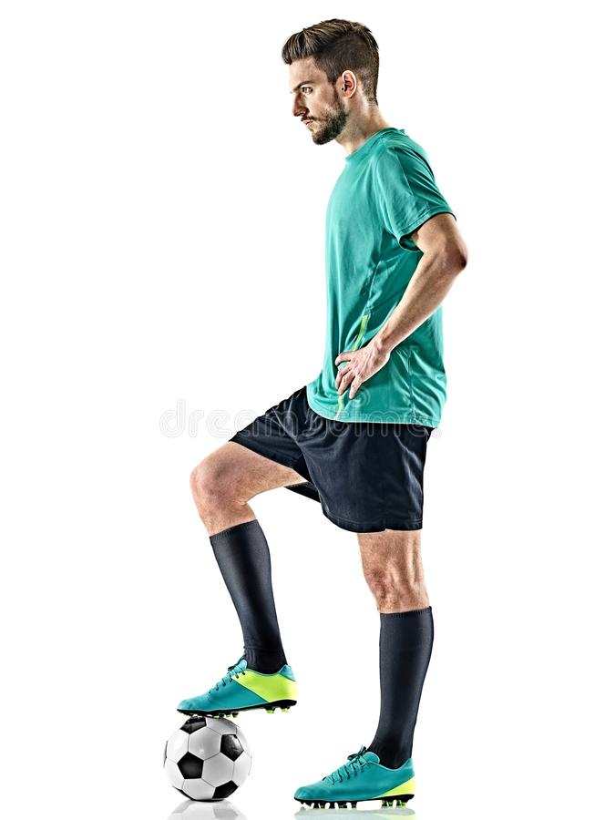 Jeden gracza piłki nożnej mężczyzna pozyci odosobniony biały tło zdjęcia royalty free