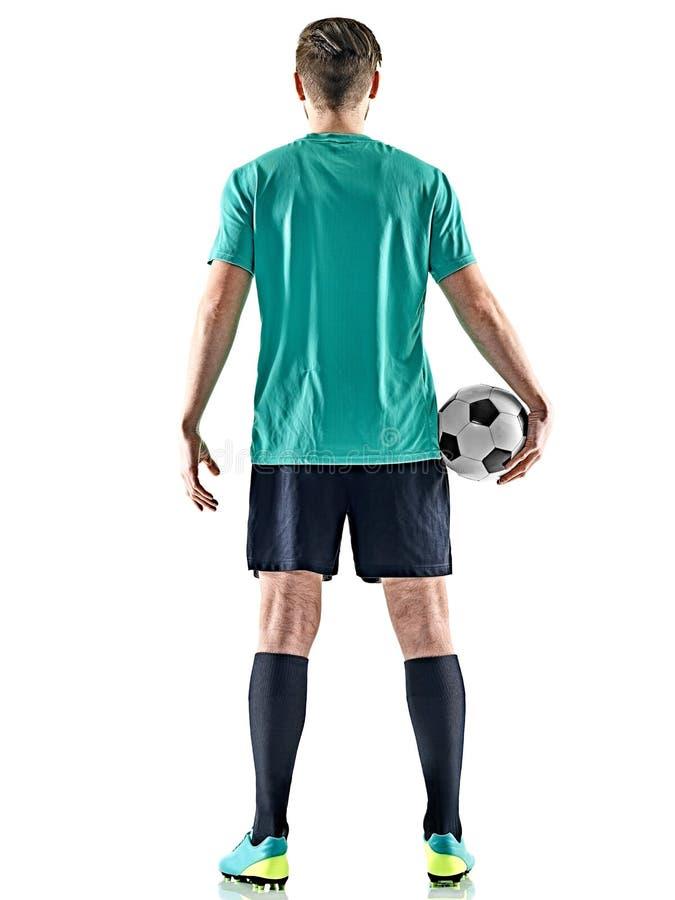 Jeden gracza piłki nożnej mężczyzna pozyci odosobniony biały tło obrazy royalty free