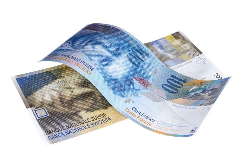 Jeden i dwieście Szwajcarskiego franka banknotów zdjęcia stock