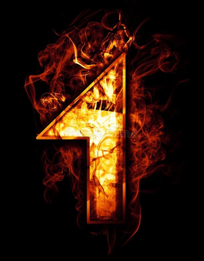 Jeden, ilustracja liczba z chromów skutkami i czerwony ogień, dalej royalty ilustracja