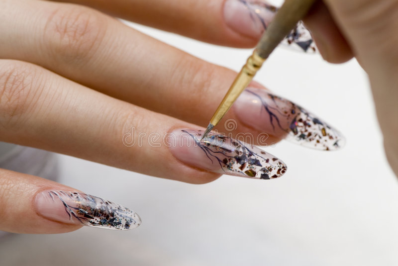 jeden jest manicure paznokci obraz royalty free