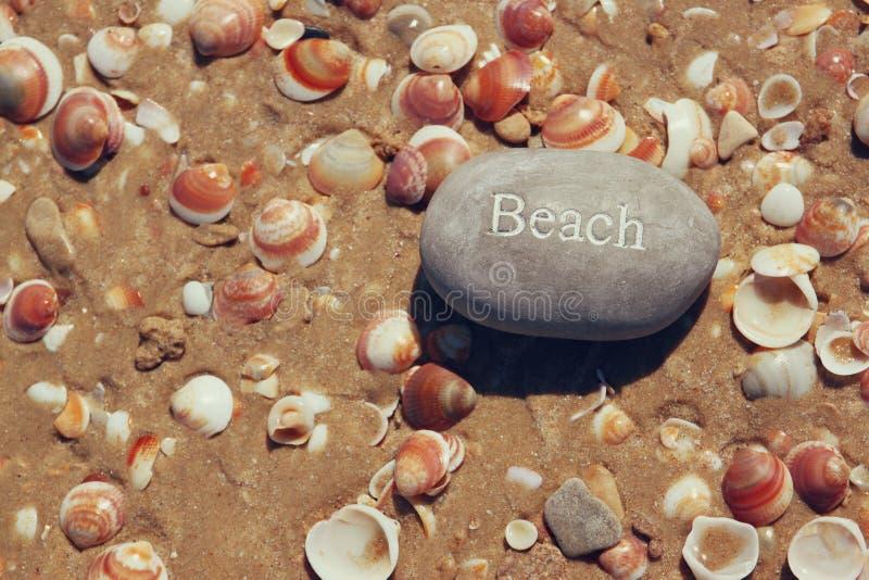 Jeden kamienni otoczaki z słowem wyrzucać na brzeg nad piaskowatą plażą z skorupami obrazy stock