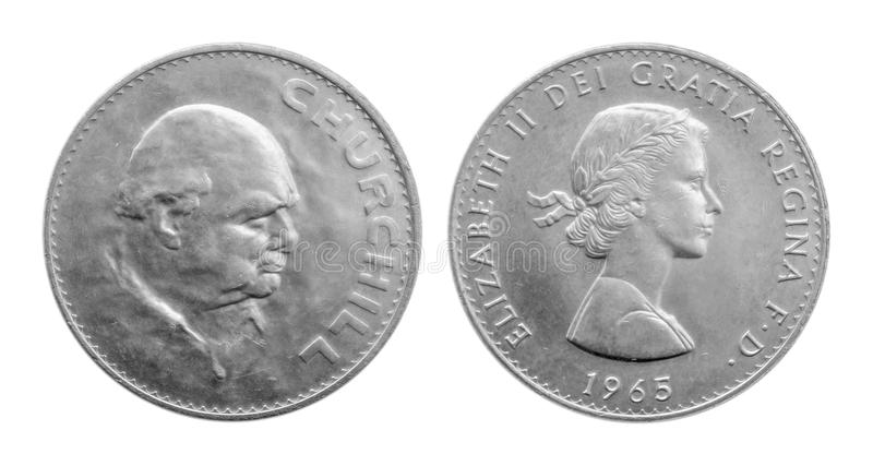 Jeden korony Winston Churchill 1965 srebna moneta Churchill korona, zdjęcia stock