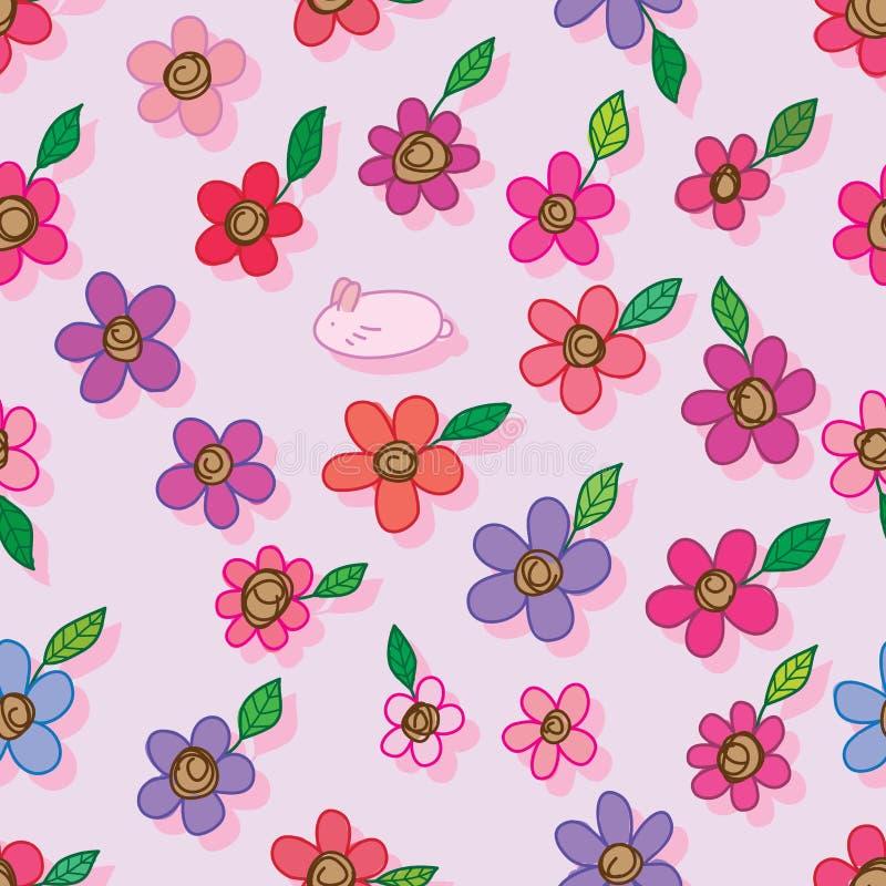 Jeden królik wiele kwiatu bezszwowy wzór ilustracja wektor