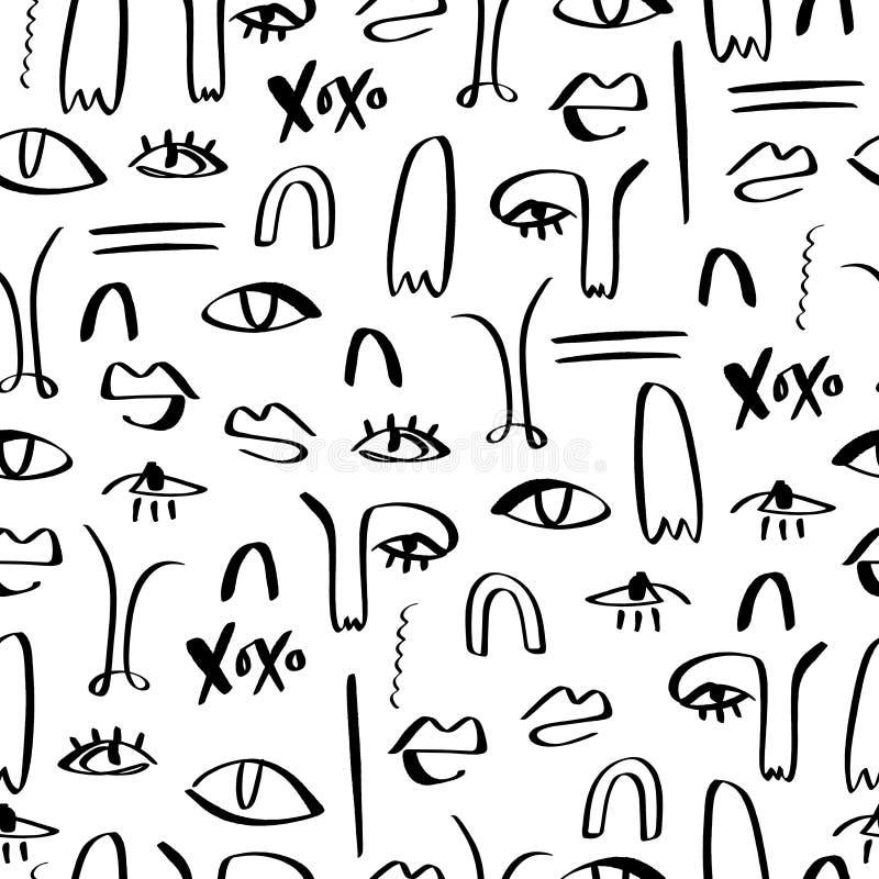 Jeden kreskowego rysunku abstrakt stawia czoło bezszwowego wzór Nowożytny estetyczny druk, minimalizm, konturowa kreskowa sztuka  royalty ilustracja