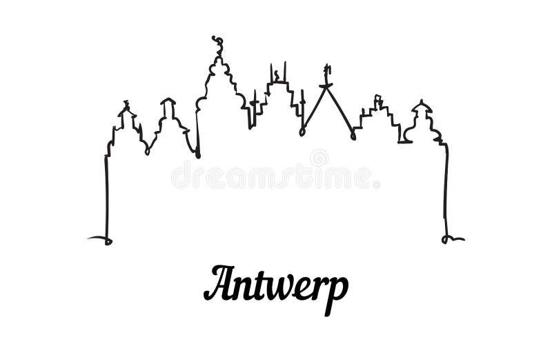 Jeden kreskowego stylu Antwerp linia horyzontu Prosty nowo?ytny minimalistic stylowy wektor royalty ilustracja