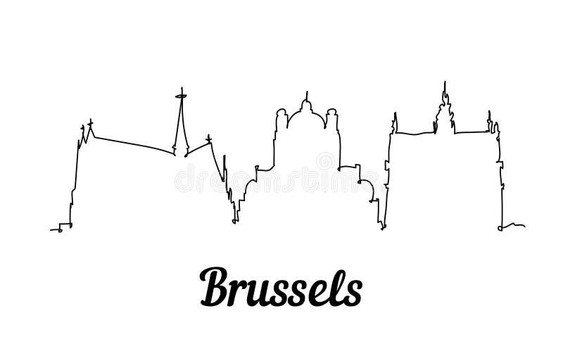 Jeden kreskowego stylu Bruksela linia horyzontu Prosty nowo?ytny minimalistic stylowy wektor royalty ilustracja