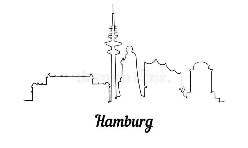 Jeden kreskowego stylu Hamburg linia horyzontu Prosty nowożytny minimaistic styl ilustracji