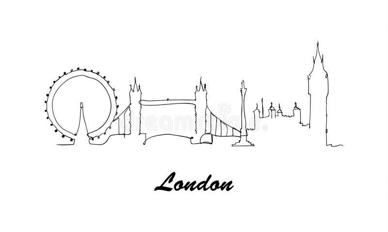 Jeden kreskowego stylu miasta Londyński linia horyzontu Prosty stylowy wektor ilustracja wektor