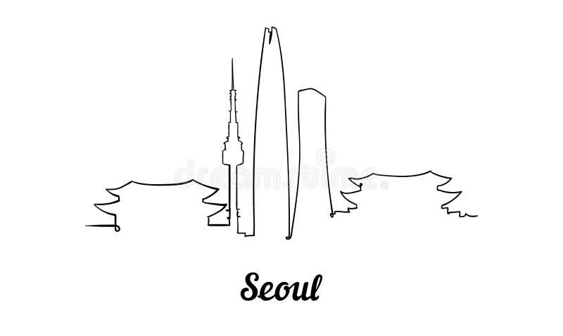 Jeden kreskowego stylu Seul linia horyzontu Prosty nowożytny minimaistic stylowy wektor ilustracja wektor
