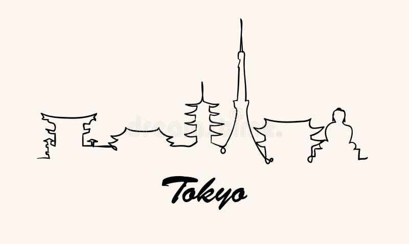 Jeden kreskowego stylu Tokio linia horyzontu Prosty nowożytny minimaistic stylowy wektor royalty ilustracja