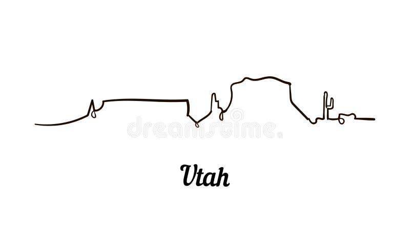 Jeden kreskowego stylu Utah linia horyzontu Prosty nowożytny minimaistic stylowy wektor royalty ilustracja