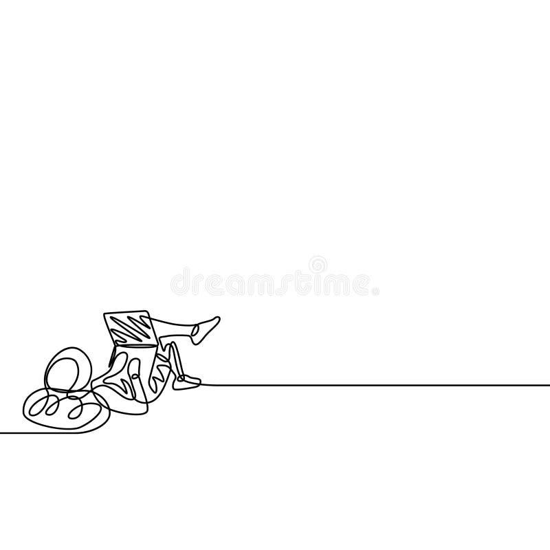 Jeden kreskowy freelancer pracuje z laptopu lying on the beach na ziemi ilustracja wektor