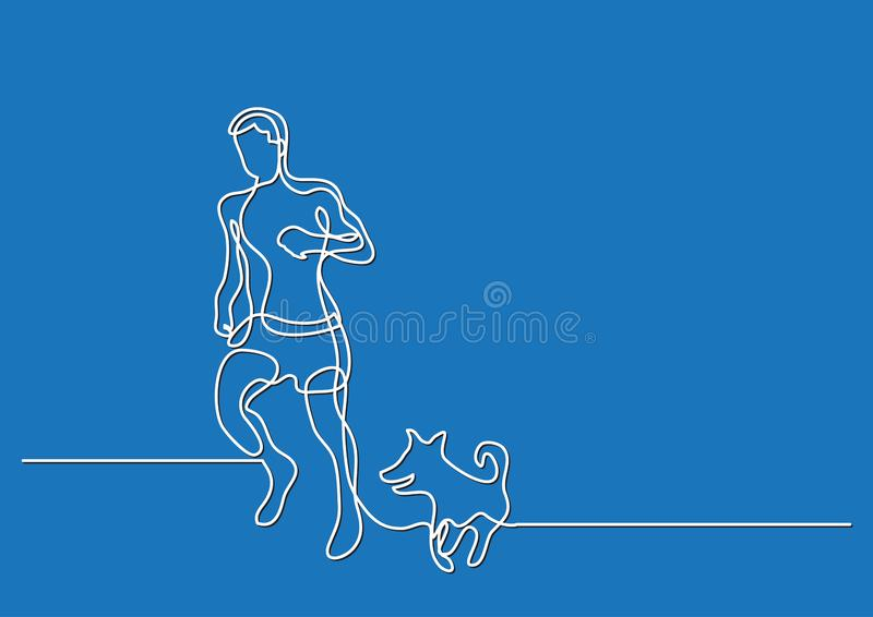 Jeden kreskowy rysunek mężczyzny bieg z psem ilustracja wektor