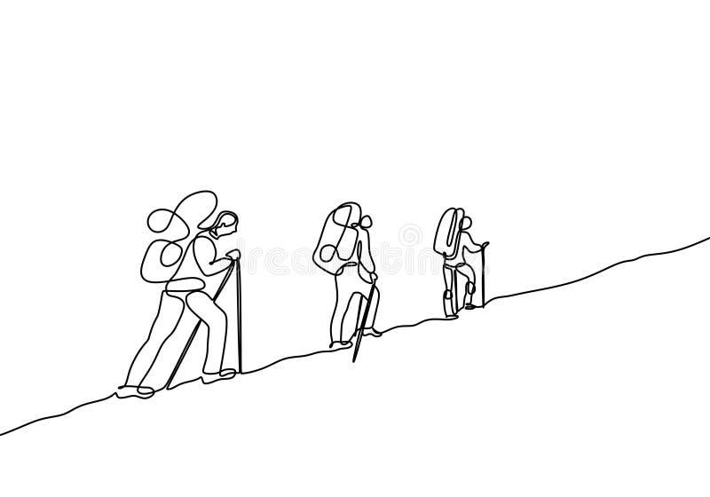 jeden kreskowy rysunek odizolowywający na białym tle podróżnicy chodzi royalty ilustracja