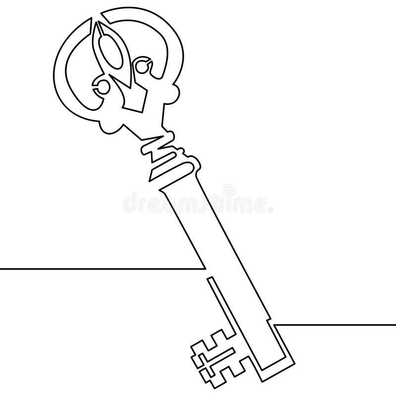 Jeden kreskowy rysunek odosobnionego wektorowego przedmiota stary klucz royalty ilustracja