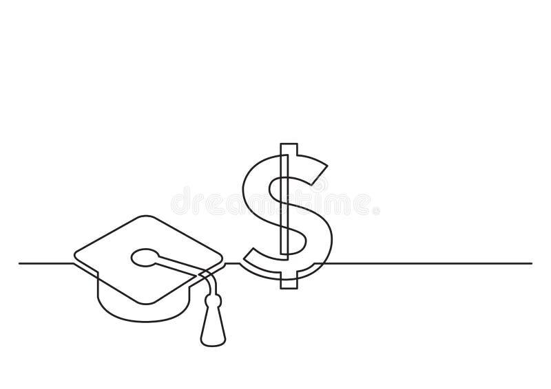 Jeden kreskowy rysunek odosobniony wektor protestuje - koszt edukacja royalty ilustracja
