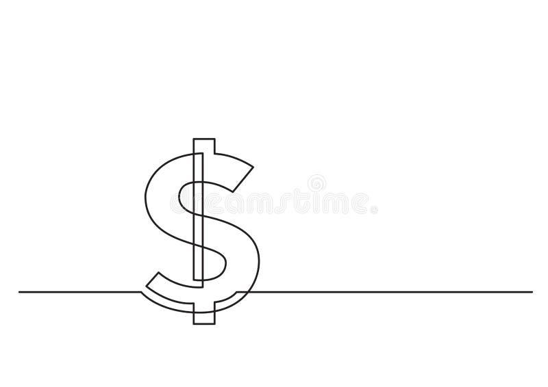 Jeden kreskowy rysunek odosobniony wektorowy przedmiot - dolarowy znak royalty ilustracja