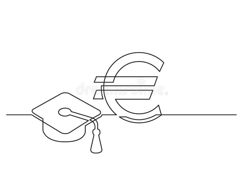 Jeden kreskowy rysunek odosobniony wektorowy przedmiot - koszt edukacja w euro royalty ilustracja
