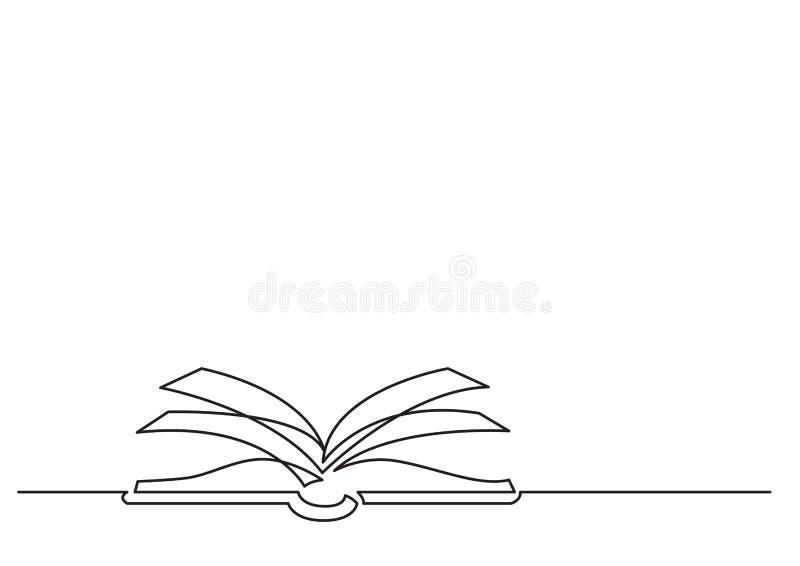Jeden kreskowy rysunek odosobniony wektorowy przedmiot - otwiera książkę royalty ilustracja
