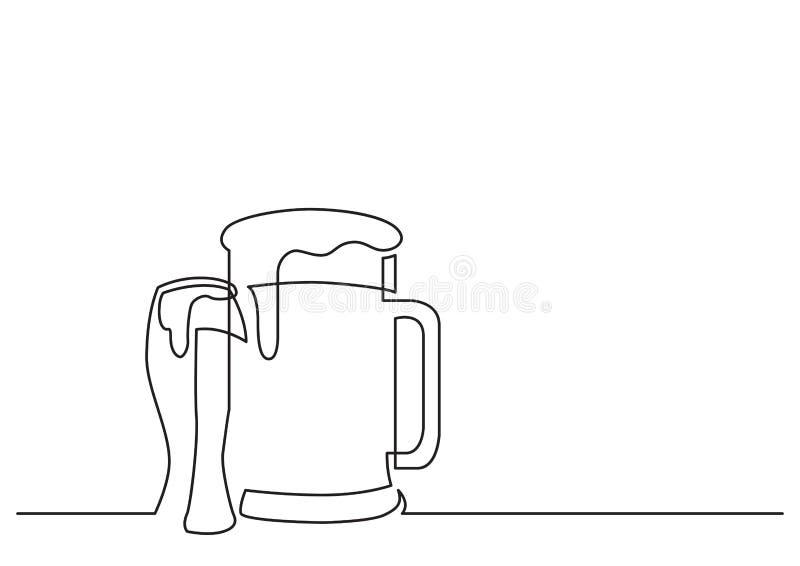 Jeden kreskowy rysunek odosobniony wektorowy przedmiot - piwny pół kwarty i szkło ilustracji