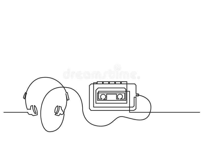 Jeden kreskowy rysunek odosobniony wektorowy przedmiot - retro przenośny kaseta gracz ilustracja wektor