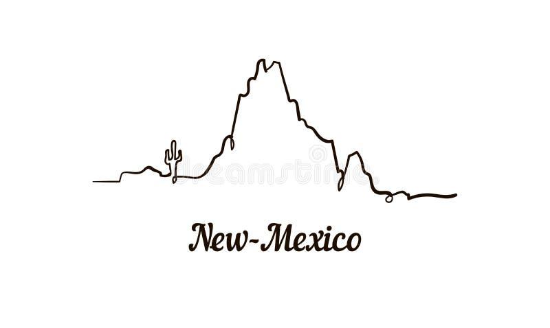 Jeden kreskowy styl nowy - Mexico linia horyzontu Prosty nowożytny minimaistic stylowy wektor ilustracja wektor