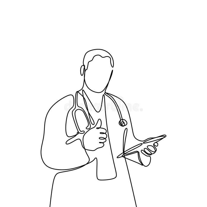 Jeden linia młode męskie lekarki, dobry aprobaty pojęcie Atrakcyjny projekt ciągłe linie royalty ilustracja