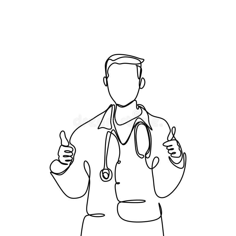 Jeden linia młode męskie lekarki, dobry aprobaty pojęcie Atrakcyjny projekt ciągłe linie ilustracji