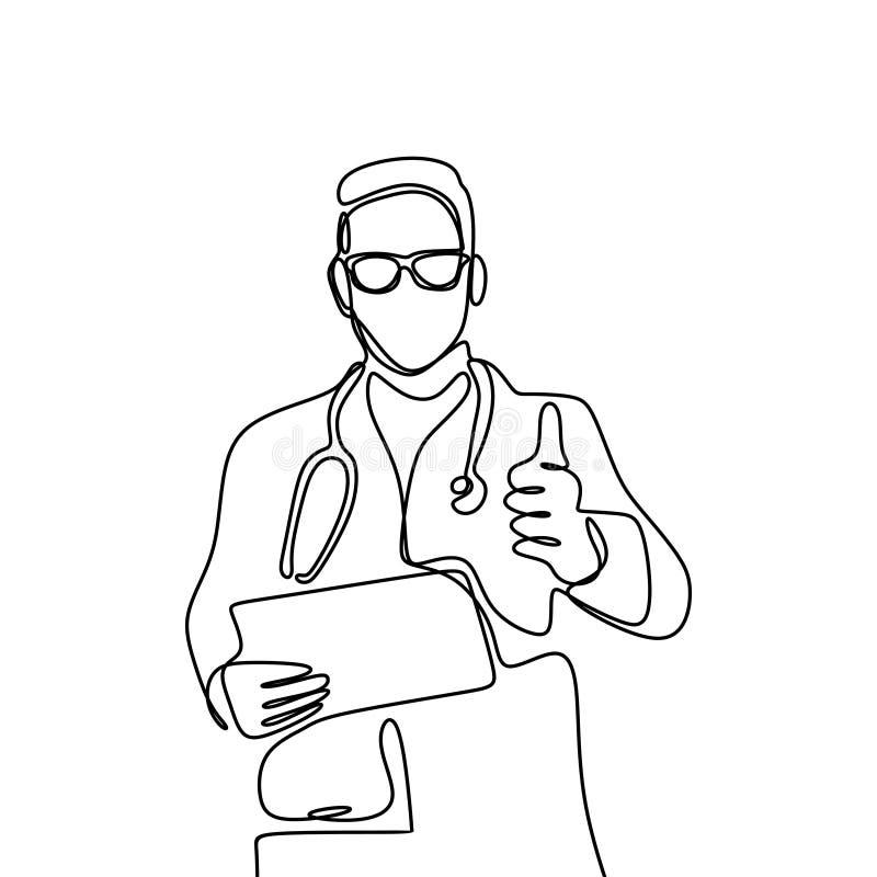 Jeden linia młode męskie lekarki, dobry aprobaty pojęcie Atrakcyjny projekt ciągłe linie ilustracja wektor