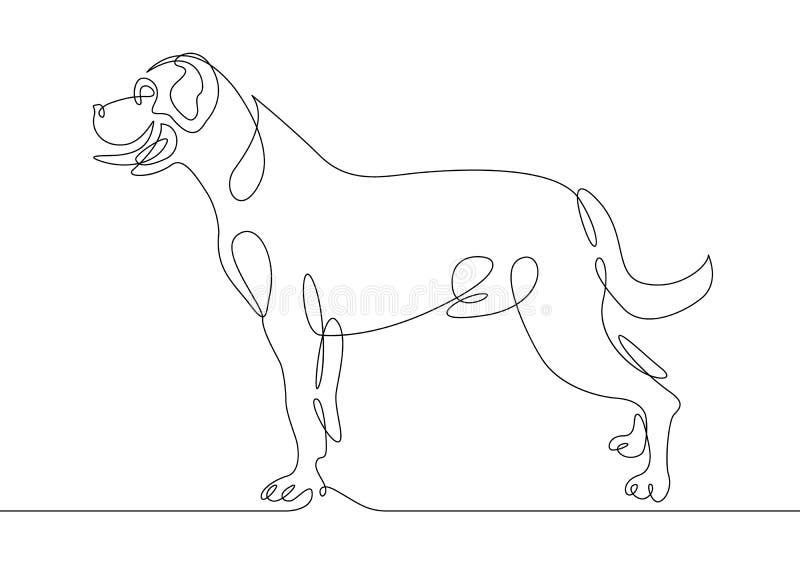 Jeden linia pies ilustracji
