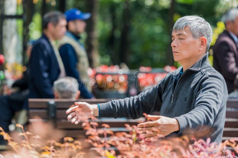 Jeden mężczyzna ćwiczy medytaci Fuxing parka Shanghai porcelanę fotografia stock