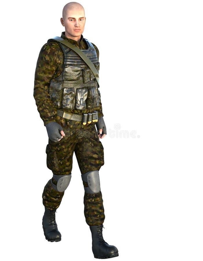 Jeden mężczyzna w wojskowego uniformu odprowadzeniu ilustracja wektor