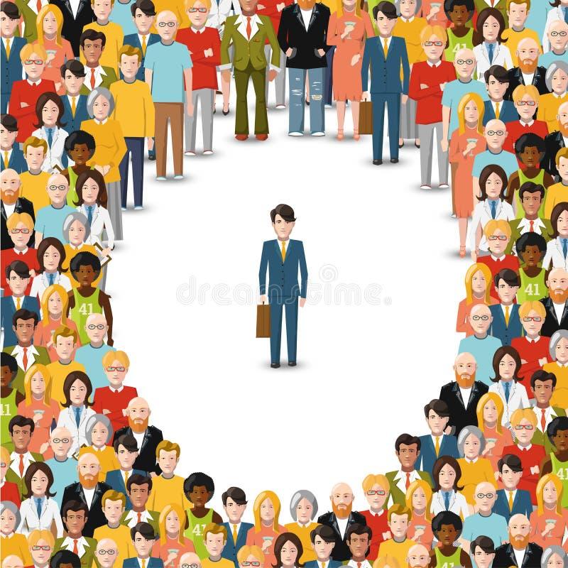 Jeden mężczyzna zostający w tłumu, konceptualna ilustracja royalty ilustracja