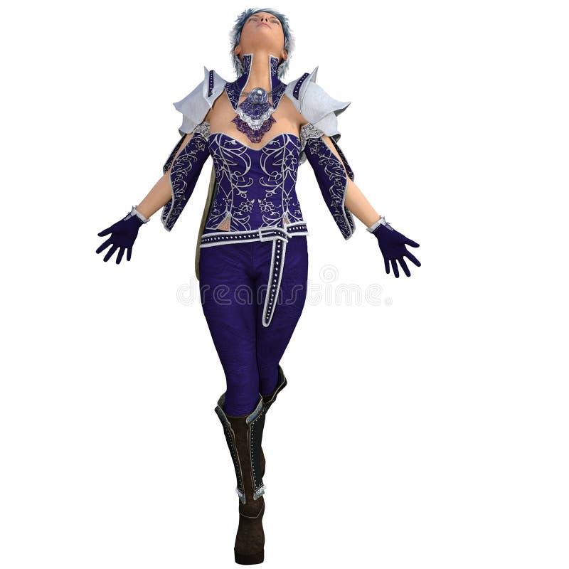 Jeden młoda żeńska guślarka w fantazja super kostiumu ilustracji