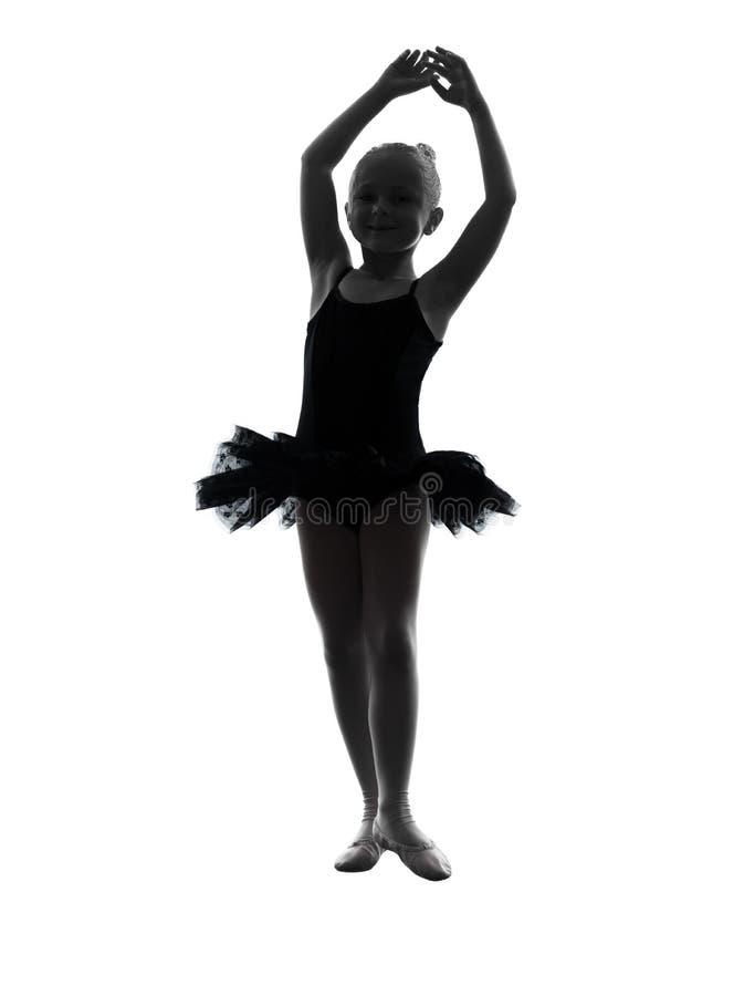 Jeden małej dziewczynki baleriny baletniczego tancerza dancingowa sylwetka obraz stock