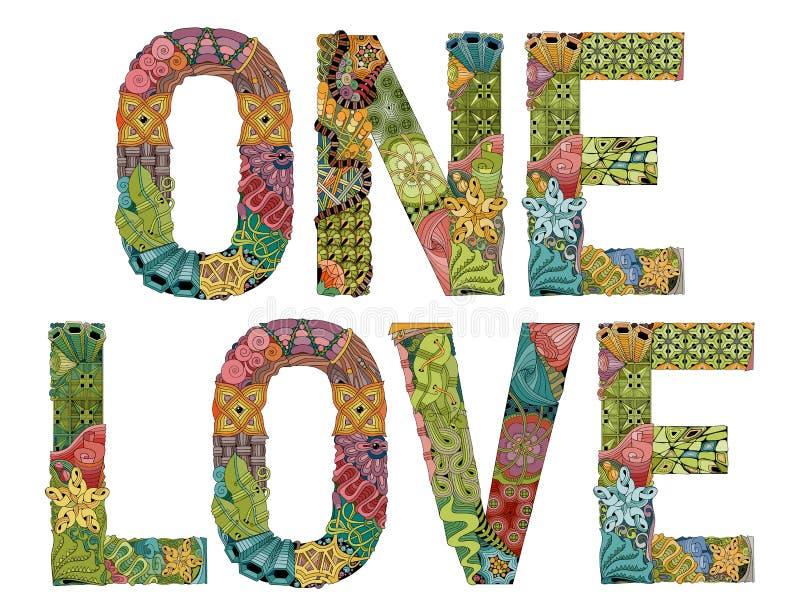 Jeden miłość Wektorowy dekoracyjny zentangle przedmiot ilustracja wektor