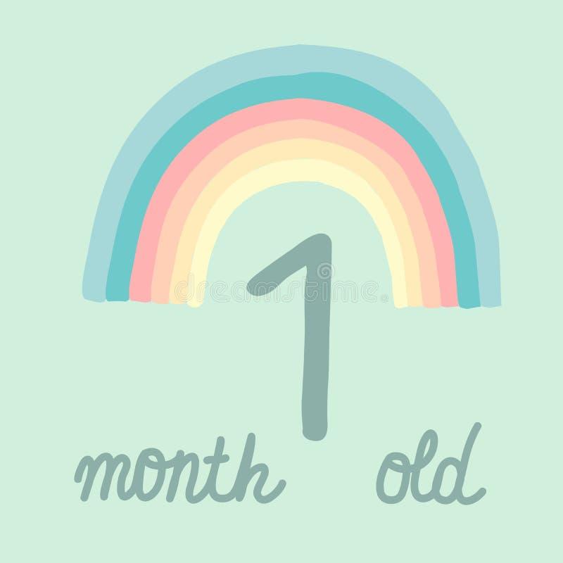 Jeden miesiąca dziecka kartki z pozdrowieniami urodzinowy zaproszenie Pastelowy stubarwny tęczy ręki literowanie na lekkim turkus ilustracji