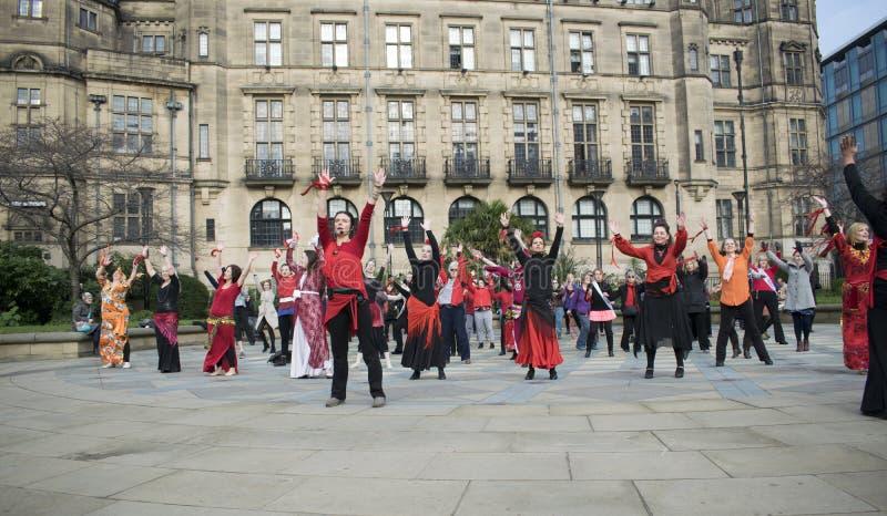 Jeden Miliard wydźwignięcie motłochu Błyskowych tanów W Sheffield obraz stock